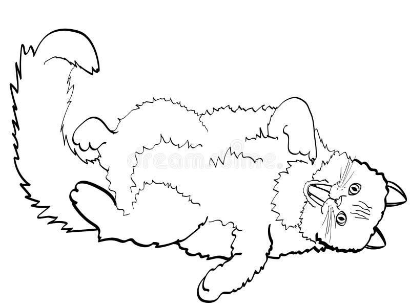 Dzieci barwi, czerni linie, biały tło kota lying on the beach na tylnego i seansu palcu w usta Wektor, imitaci komiczka royalty ilustracja