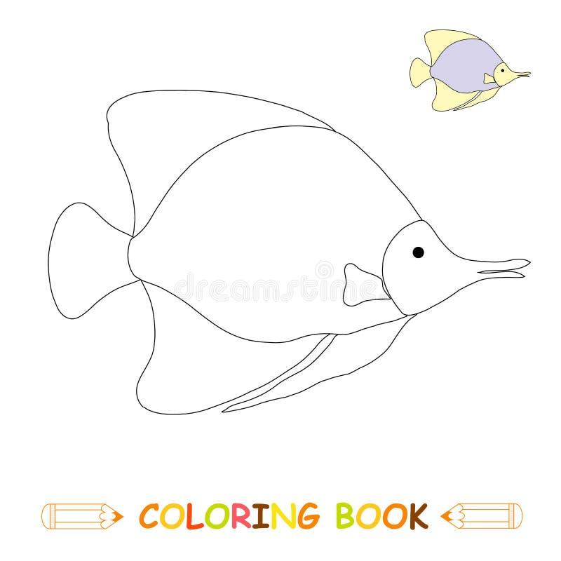 Dzieci barwi strony wektorową ilustrację, śliczną ryby w monochromu i colour wersji, ilustracji