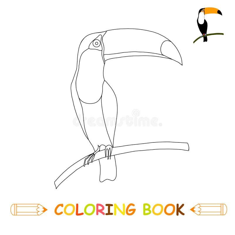 Dzieci barwi strony wektorową ilustrację, ślicznego pieprzojada w monochromu i colour, ilustracja wektor