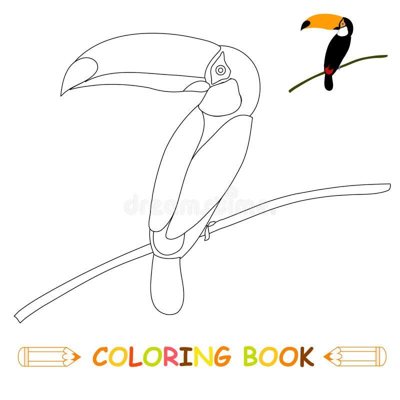 Dzieci barwi strony wektorową ilustrację, ślicznego pieprzojada w monochromu i colour wersji, royalty ilustracja
