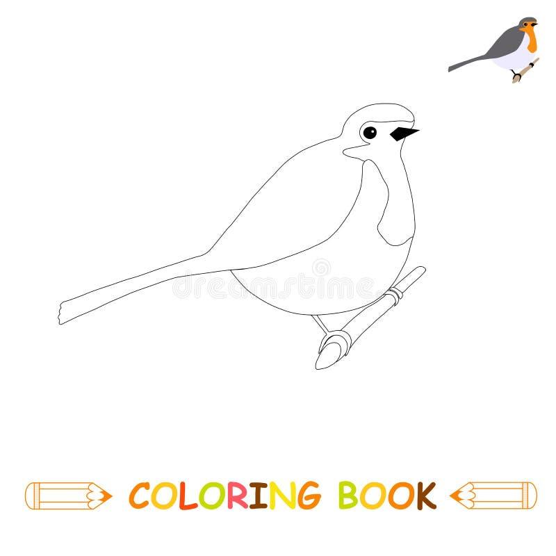 Dzieci barwi strony wektorową ilustrację, śliczny rudzik w monochromu ilustracji