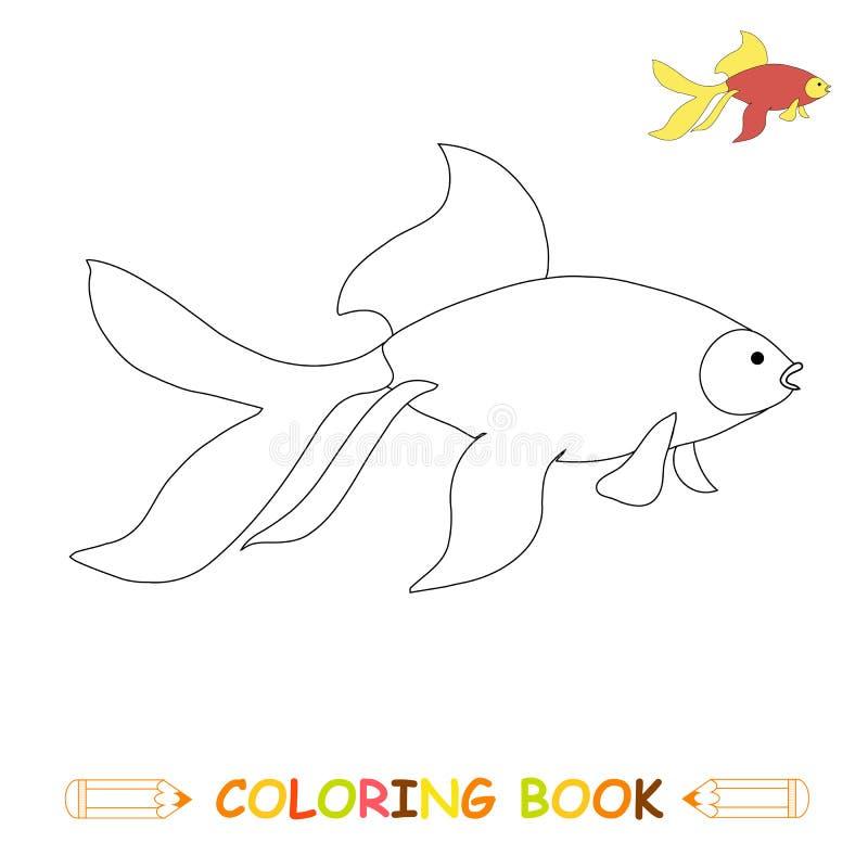 Dzieci barwi strony wektorow? ilustracj?, ?liczn? ryby w monochromu i colou, royalty ilustracja
