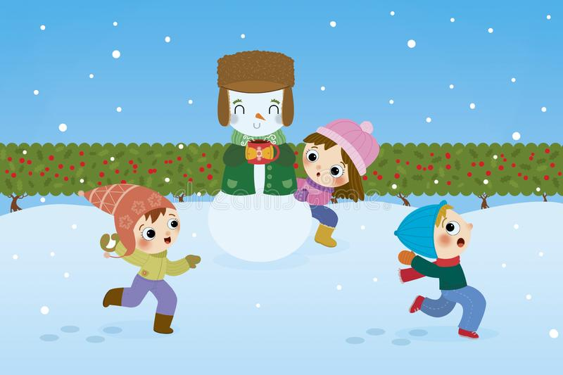 Dzieci bawić się Snowball walki ilustrację ilustracji