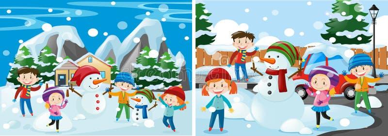 dzieci bawić się śnieg ilustracji