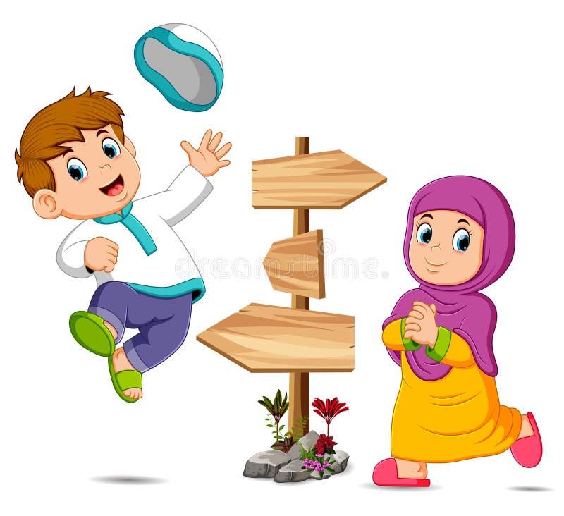 Dzieci bawić się blisko drewnianego kierunkowskazu ilustracja wektor