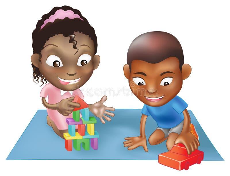 dzieci bawić się dwa ilustracji