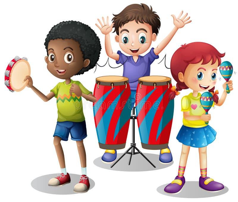 Dzieci bawić się instrumenty muzycznych wpólnie ilustracji