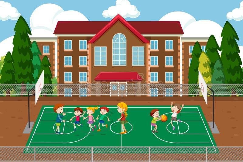 Dzieci bawić się koszykówki scenę ilustracji