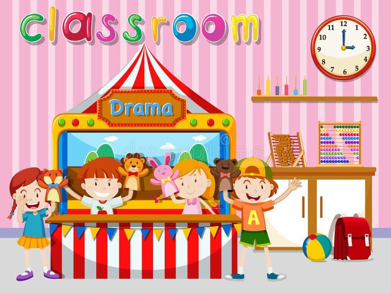 Dzieci bawić się kukły na scenie royalty ilustracja