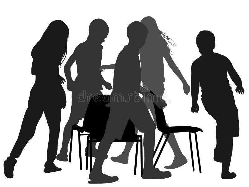 Dzieci bawić się muzyczną krzesło grę, sylwetka ilustracja wektor