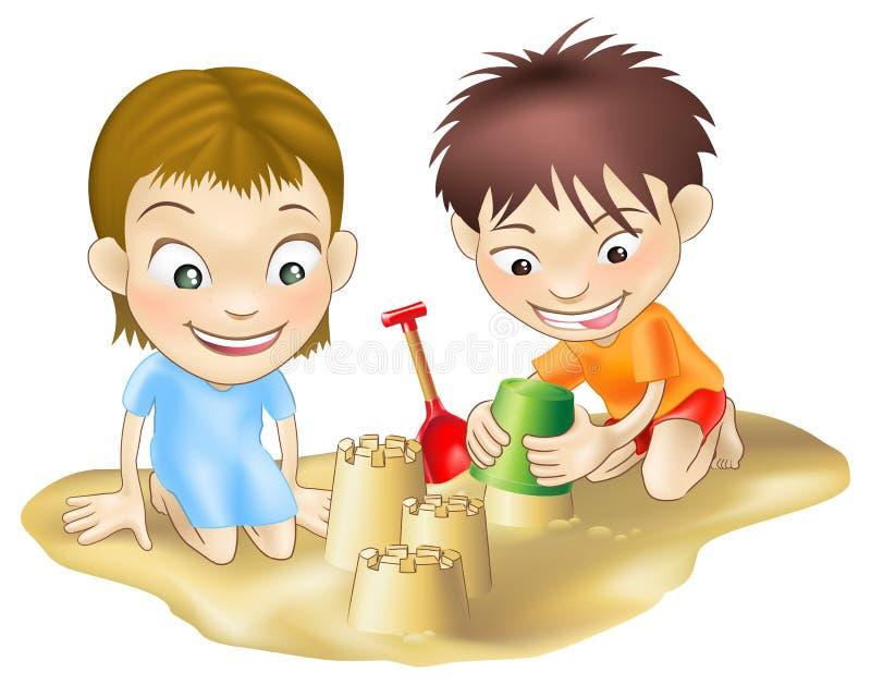dzieci bawić się piasek dwa ilustracji