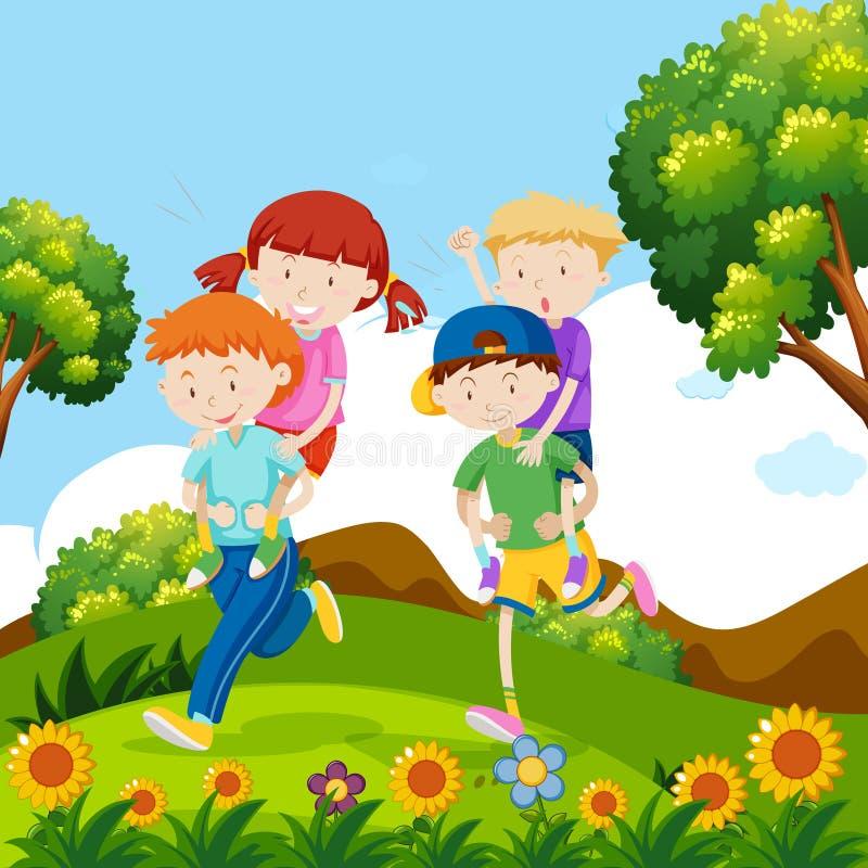 Dzieci bawić się piggyback w naturze ilustracja wektor