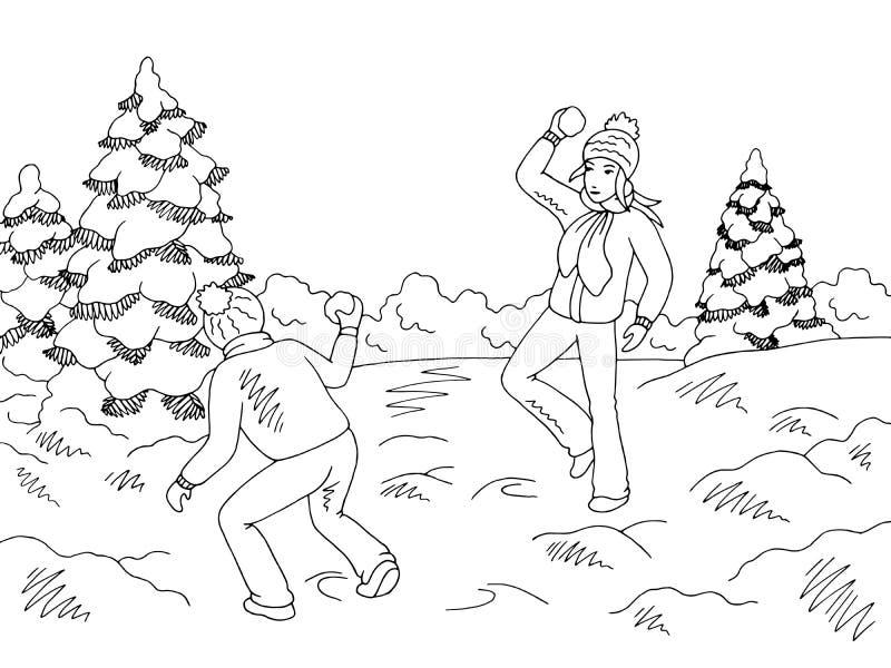 Dzieci bawić się snowballs w zima parka nakreślenia krajobrazu ilustracji graficznym czarnym białym wektorze royalty ilustracja