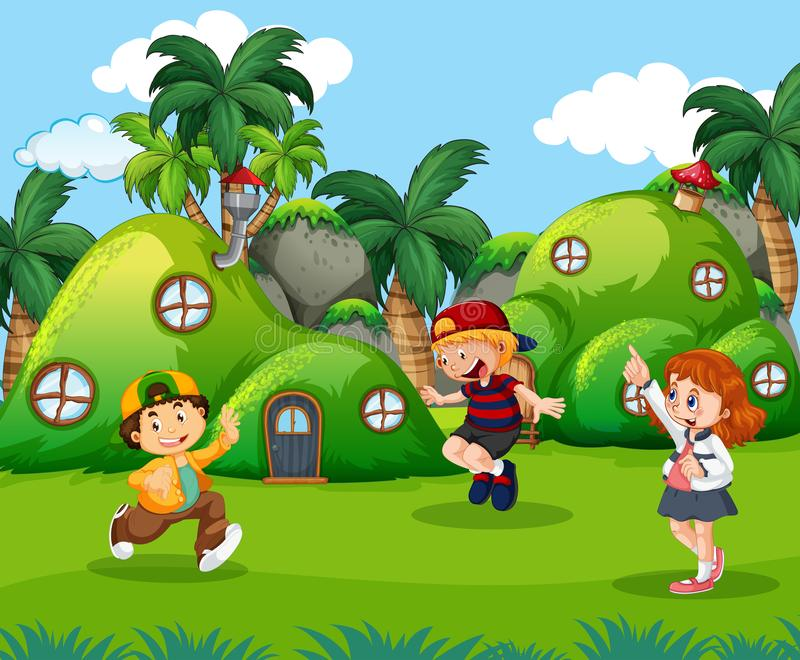 Dzieci bawić się w fantazji ziemi ilustracji