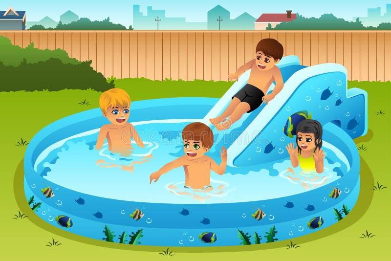 Dzieci bawić się w nadmuchiwanym basenie ilustracji