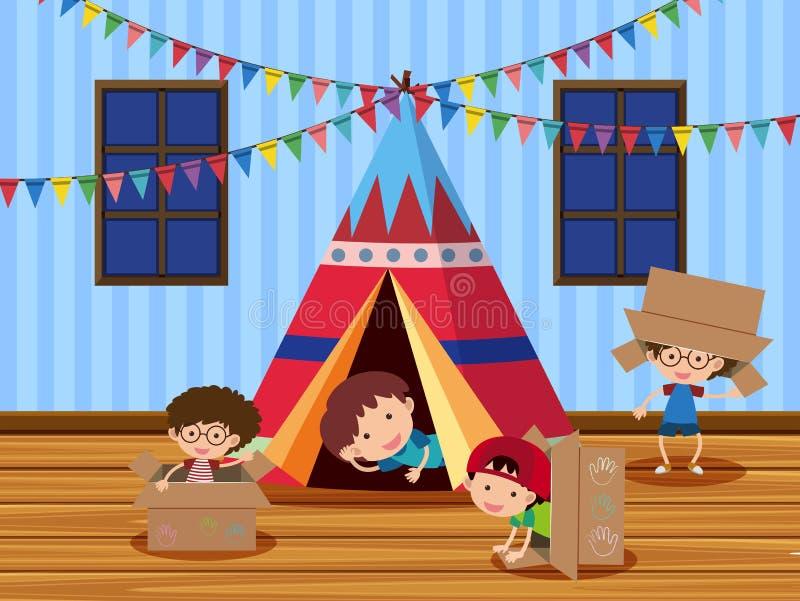 Dzieci bawić się w namiocie ilustracja wektor