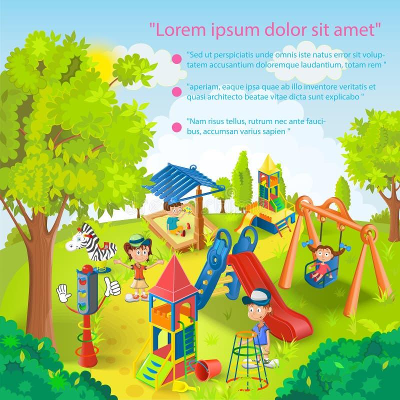 Dzieci bawić się w parkowym wektorze ilustracja wektor