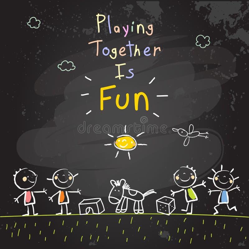 Dzieci bawić się wraz z zabawkami, praca zespołowa royalty ilustracja