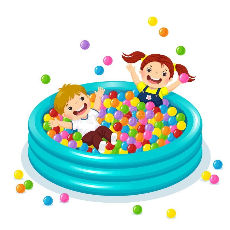 Dzieci bawić się z kolorowymi piłkami w balowym basenie ilustracji