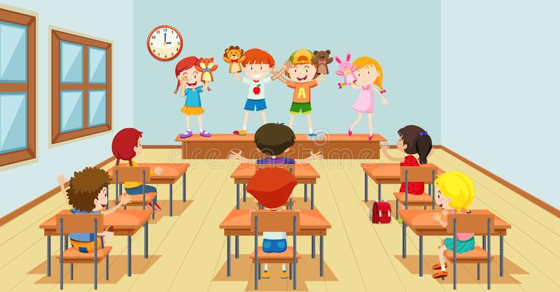 Dzieci bawić się z kukły classroon sceną ilustracji