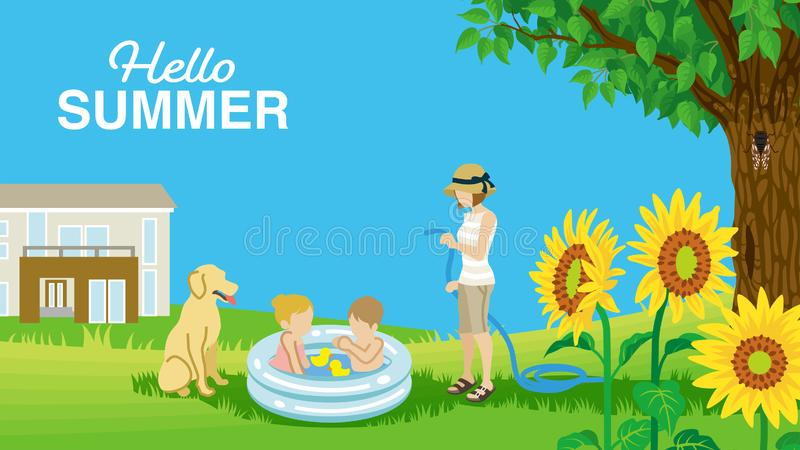 """Dzieci bawić się z nadmuchiwanym basenem przy matka i pies w lato jardzie - Zawierać słowa """"Hello lato zdjęcia royalty free"""