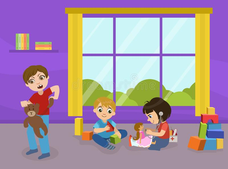 Dzieci Bawić się z zabawkami w Playroom dzieciniec, Agresywne łobuz chłopiec łamania zabawki, Zły zachowanie wektor royalty ilustracja