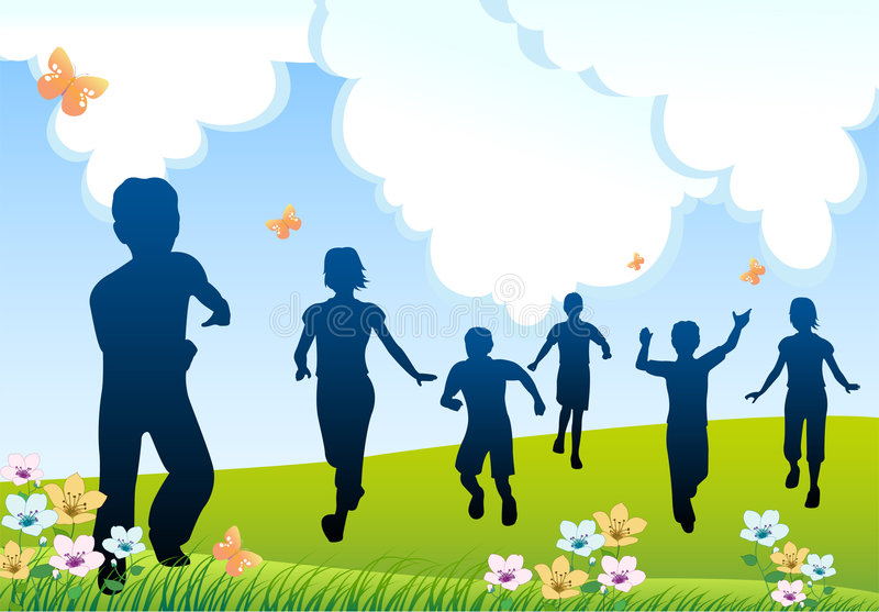 dzieci bieg sylwetka ilustracja wektor