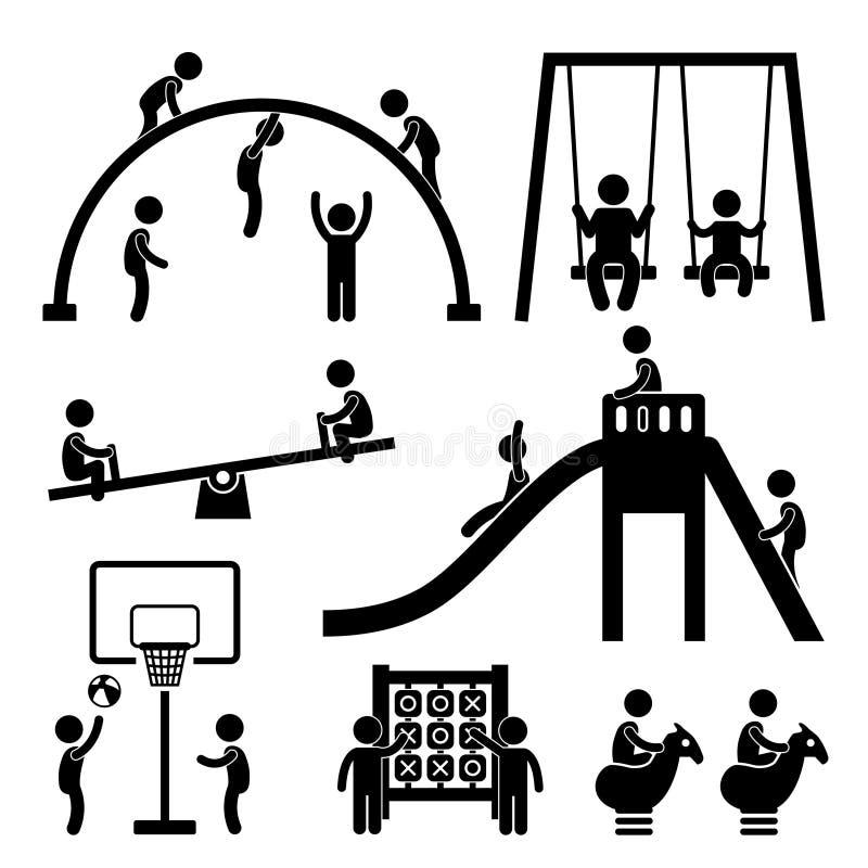 Dzieci Boiska Plenerowy Park royalty ilustracja
