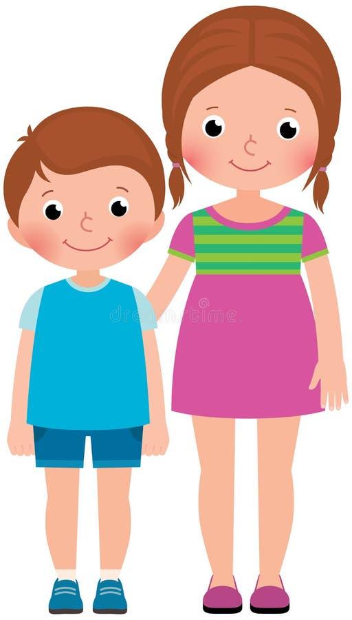 Dzieci bracia i siostra stojak w pełnej długość wektoru kreskówce ilustracja wektor