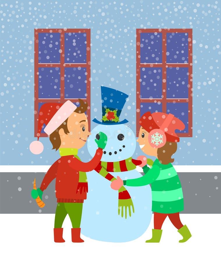 Dzieci Buduje bałwanu, dzieciaki Ma zabawy zimę ilustracja wektor
