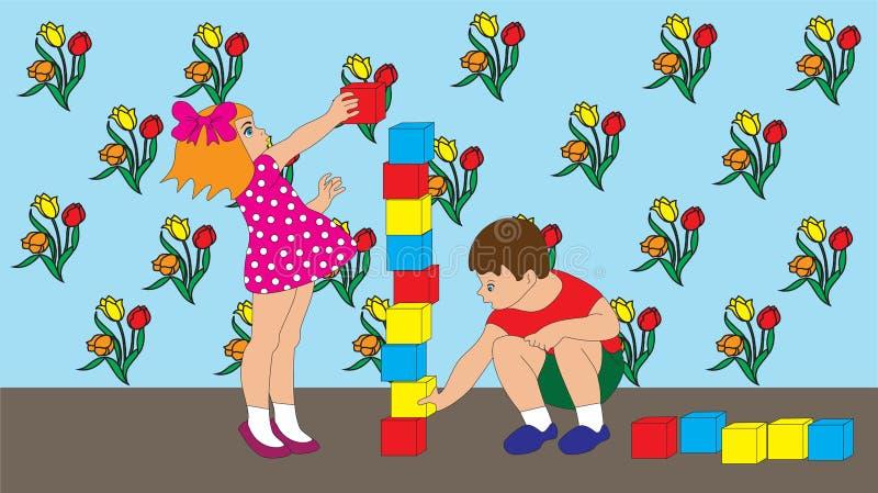 Dzieci chłopiec i dziewczyna bawić się sześciany fotografia royalty free