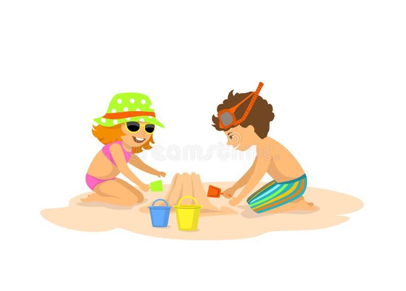 Dzieci chłopiec i gilr budynek, robi piaskowi roszować na plaży royalty ilustracja