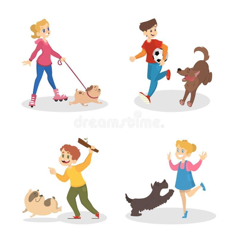 Dzieci chodzi i bawić się z ich psami ilustracja wektor