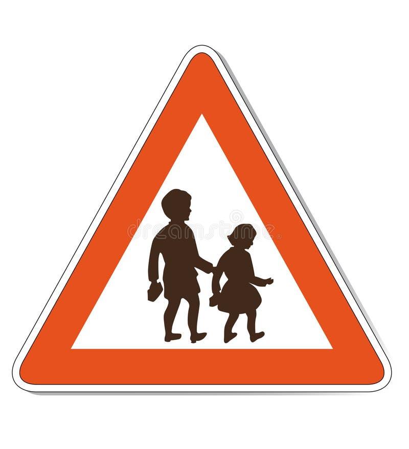 dzieci czerwieni znaka ostrzeżenia biel royalty ilustracja