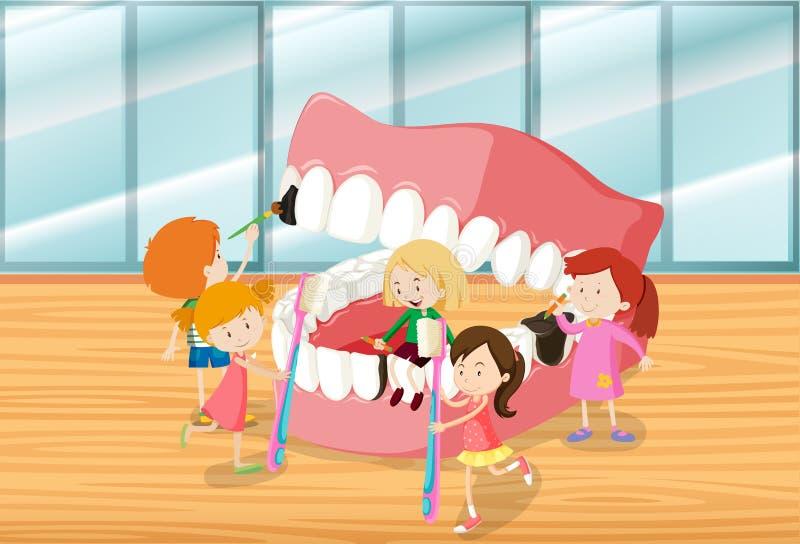 Dzieci czyści zęby wpólnie royalty ilustracja