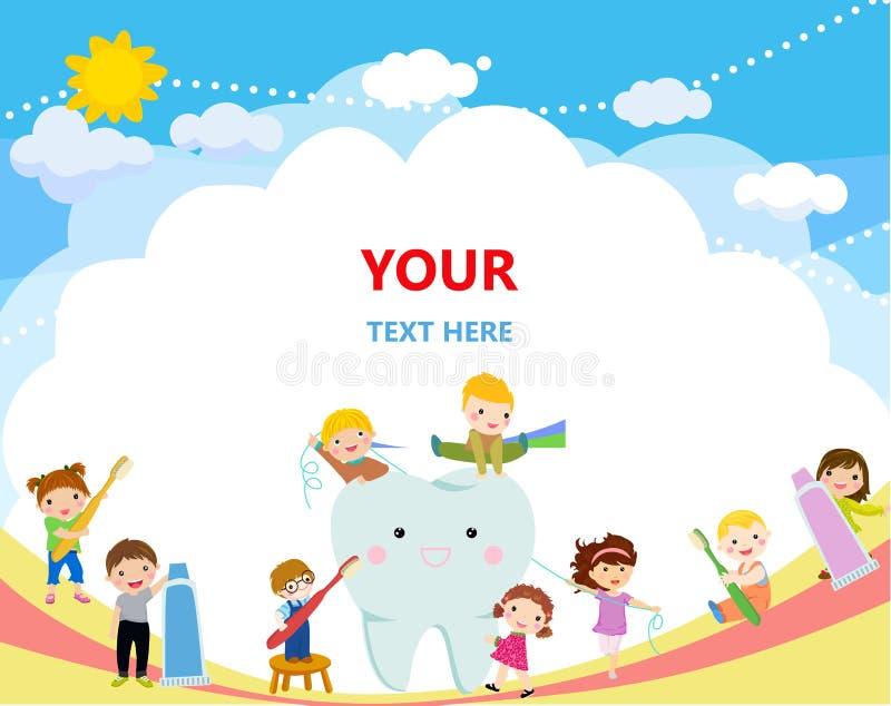 Dzieci czyści zęby z toothbrush royalty ilustracja