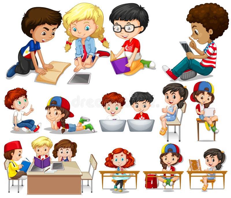 Dzieci czyta i uczy się ilustracji