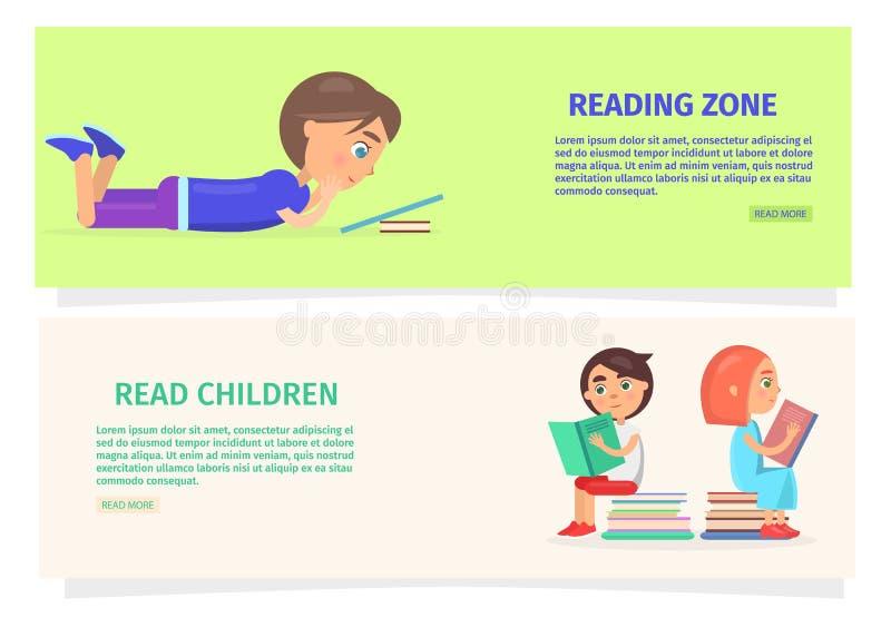 Dzieci Czyta strefy informaci ilustrację royalty ilustracja
