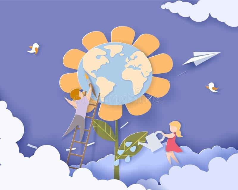 Dzieci dba dla Ziemskiego kwiatu ilustracja wektor