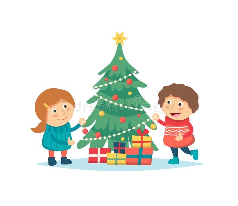 Dzieci dekoruje choinki odizolowywającej na białym tle Śliczni charaktery, boże narodzenia i nowy rok, royalty ilustracja