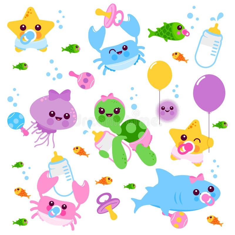 Dzieci dennych zwierząt wektoru set ilustracji