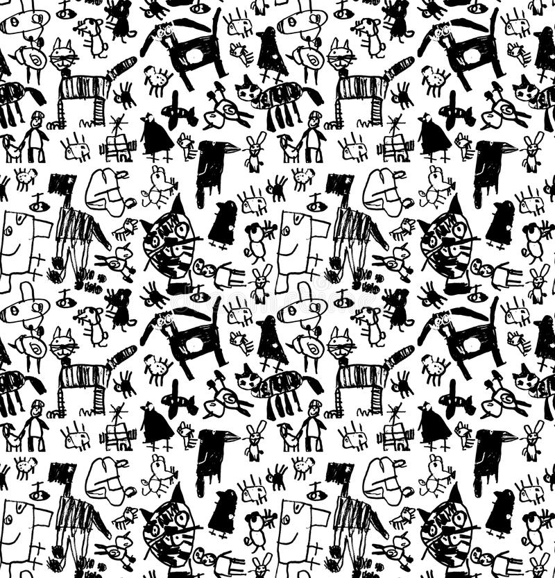 Dzieci doodles rysują czarny i biały bezszwowego wzór ilustracji