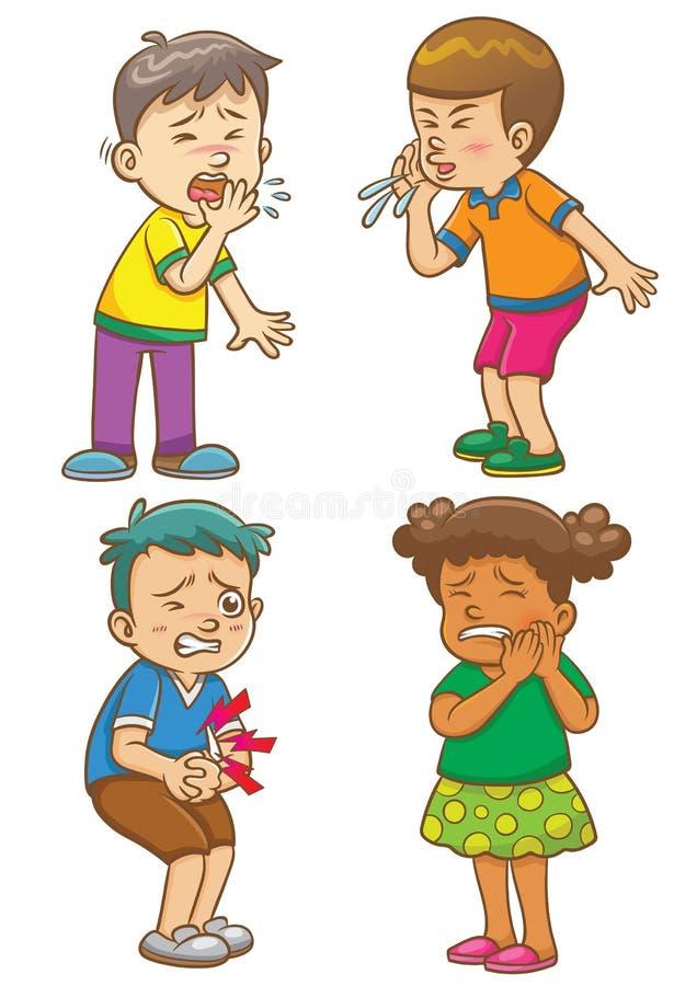 Dzieci dostają chorego postać z kreskówki royalty ilustracja