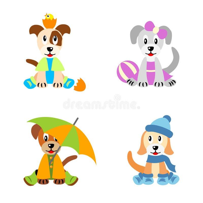 dzieci dresed cztery jak szczeniaków sezon royalty ilustracja