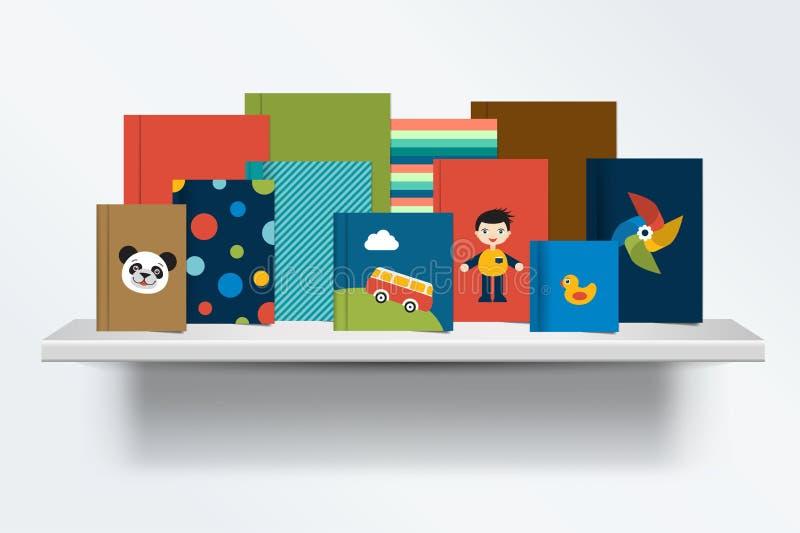 Dzieci, dzieciaka półka na książki Frontowy widok książki pokrywy pozycja na popielatym tle z cieniami ilustracja wektor