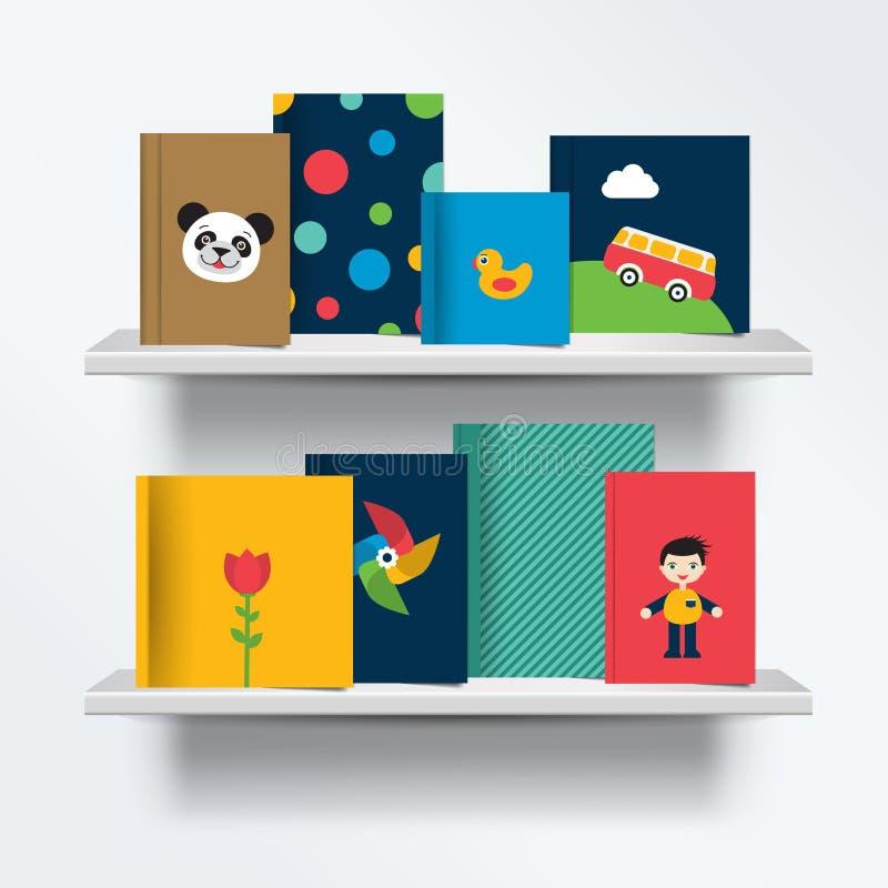 Dzieci, dzieciaka półka na książki Frontowy widok książki pokrywy pozycja na popielatym tle z cieniami royalty ilustracja