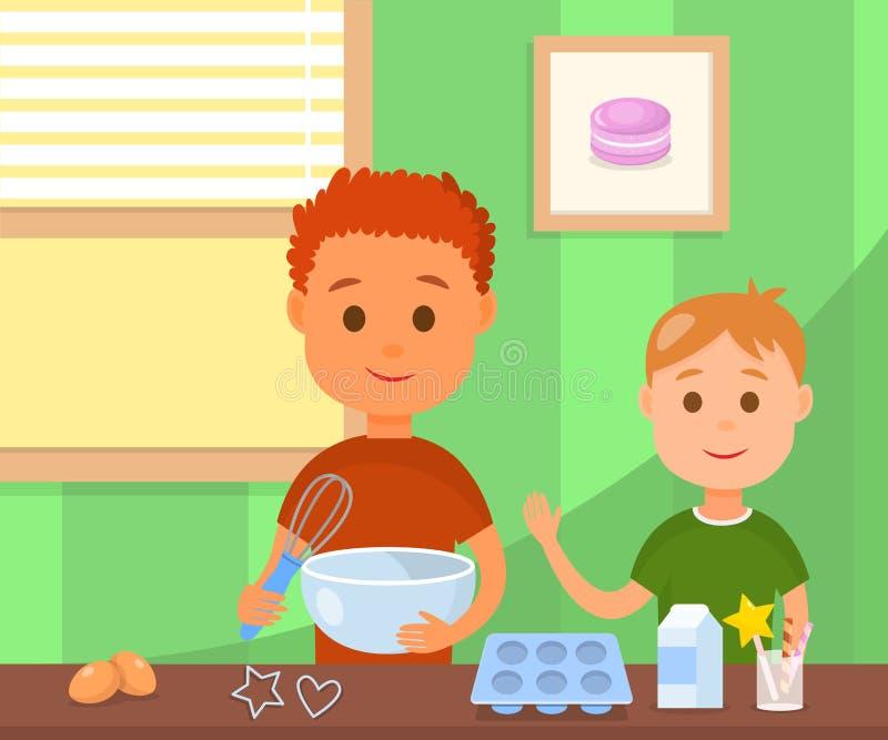 Dzieci gotuje Smakowitą ciastko wektoru ilustrację ilustracja wektor