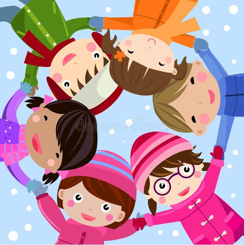dzieci grupują szczęśliwego ilustracja wektor