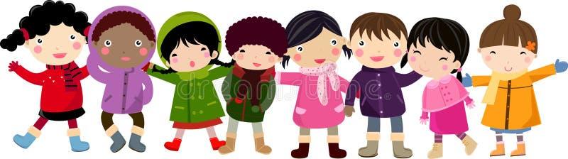 dzieci grupują szczęśliwego ilustracji