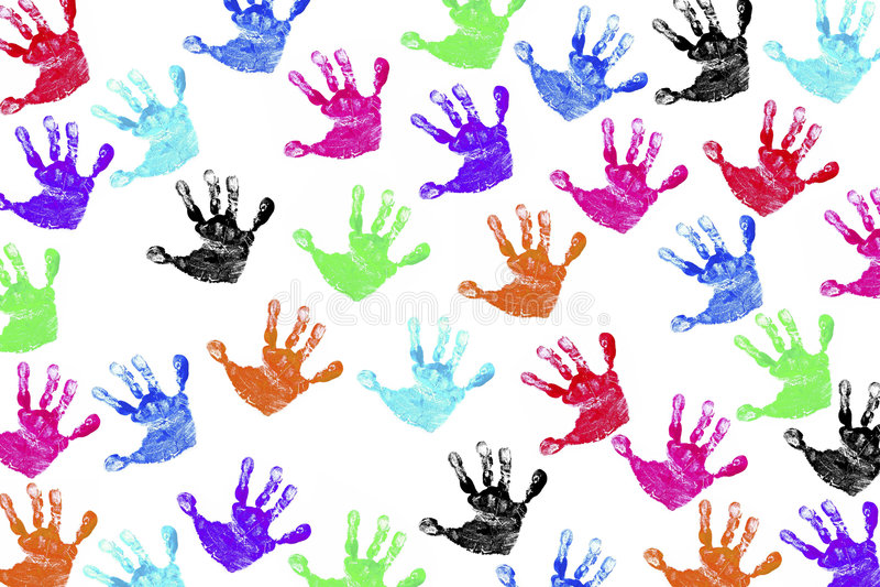 dzieci handprints s fotografia stock